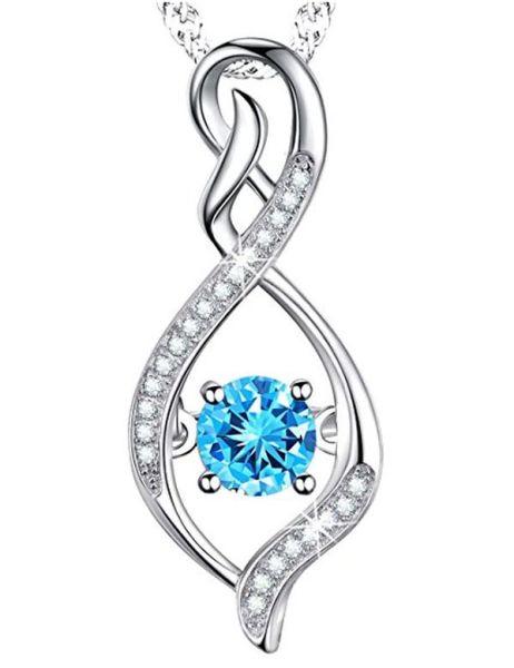 Infinity Necklace with Aquamarine Swarovski Stone