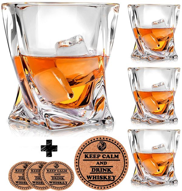 Twist Whiskey Glasses Set of 4 by Vaci 4 Drink Coasters