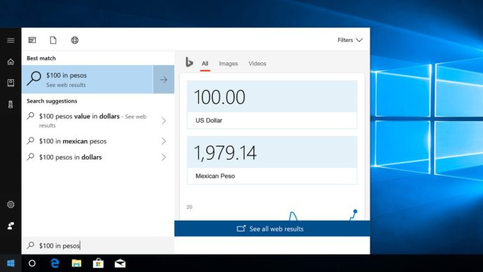 currency converter windows 10 cortana