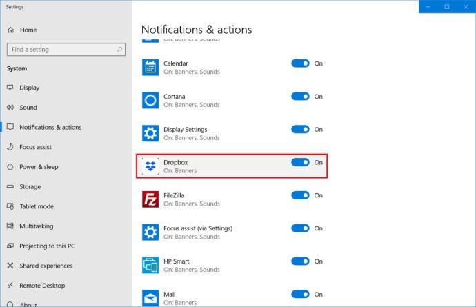 settings notifications dropbox