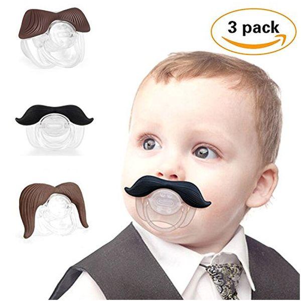 3Pcs Cute Gentleman Mustache Pacifier for Baby