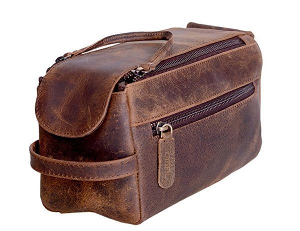 KOMALC Genuine Buffalo Leather Unisex Toiletry Bag