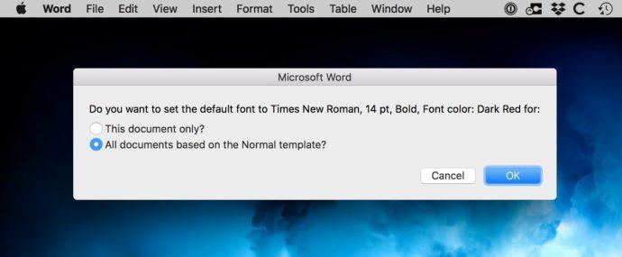 set default font word