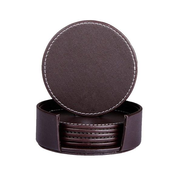 SanPlus Leather Coasters with Holder Set of 6