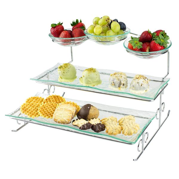 Server Stand with Trays Bowls