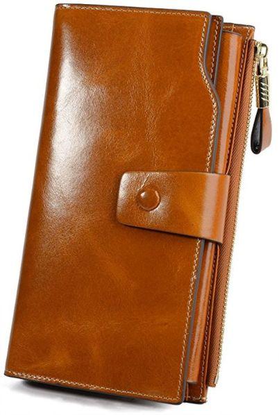 YALUXE Womens Genuine Leather Clutch