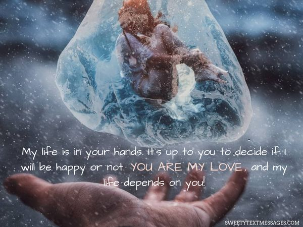 My life is in your hands. It`s up to you to decide if I will be happy or not. You are my love, and my life depends on you!