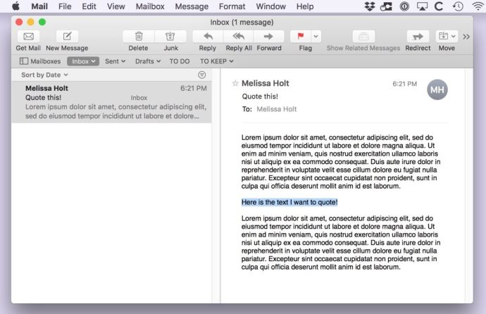 Email with Selected Text to Reply to in Apple Mail