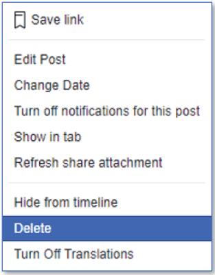 delete facebook post from timeline
