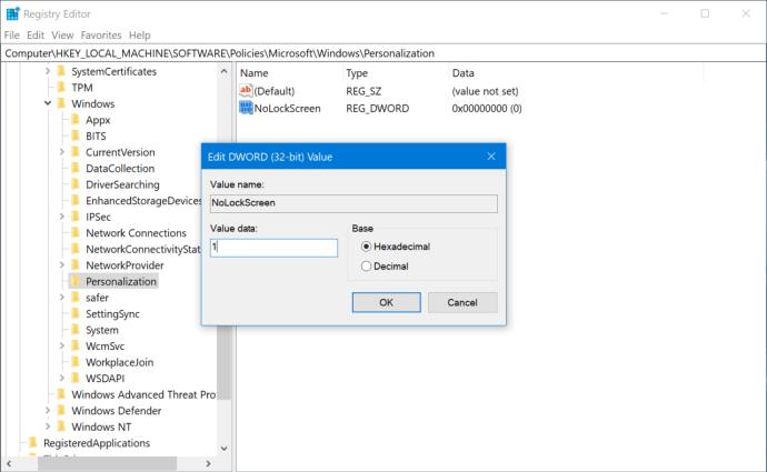 disable lock screen windows registry