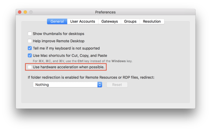Disable Microsoft Remote Desktop Hardware Acceleration to Fix