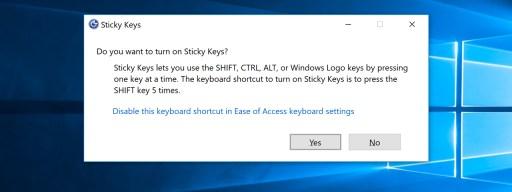 disable sticky keys prompt windows 10