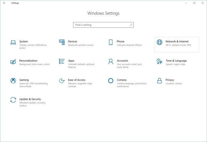 windows 10 settings network & internet