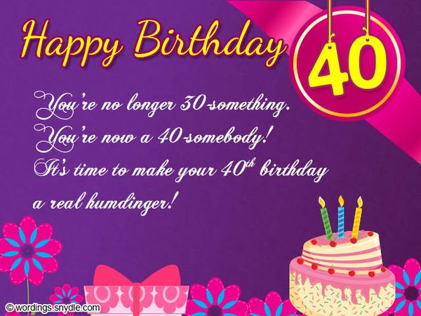 Fantastic messages for sister's 40th birthday