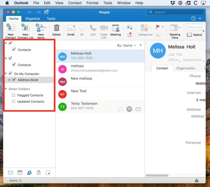 Lists of Contacts in Outlook