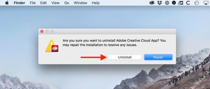 Uninstall Creative Cloud Button