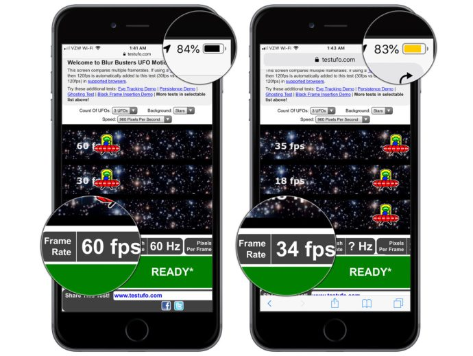 iphone refresh rate low power mode