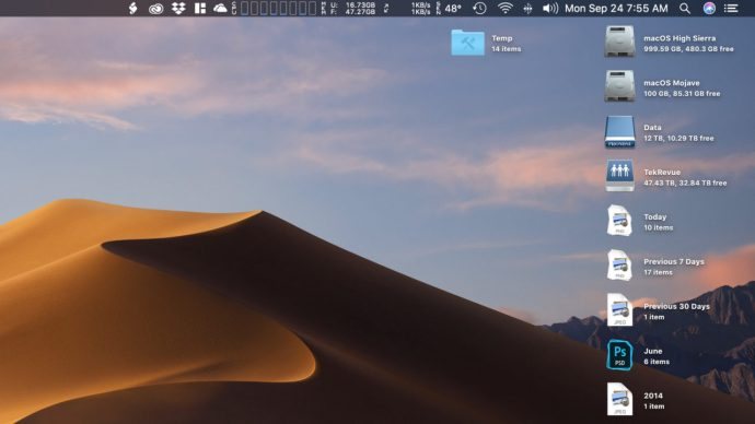 mojave stacks organize by date