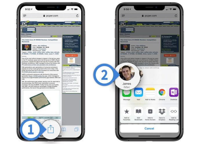 steps to transfer the website from the iPhone or iPad