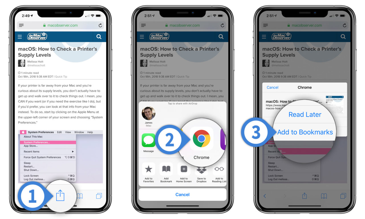 how to sync chrome bookmarks to iphone