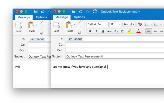outlook email testing autocorrect text replacement
