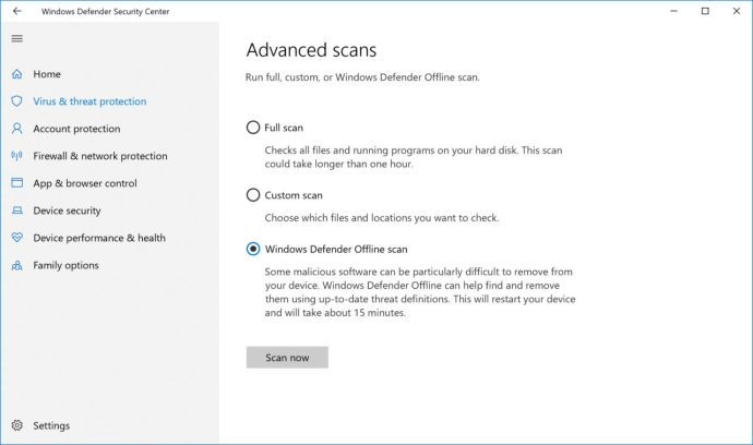 windows defender offline scan button