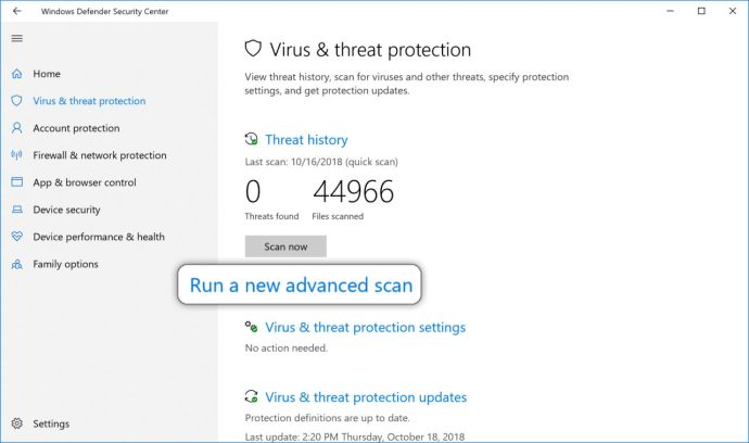 Windows Defender skanningsalternativ