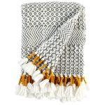 Rivet Modern HandWoven Stripe Fringe Throw Blanket