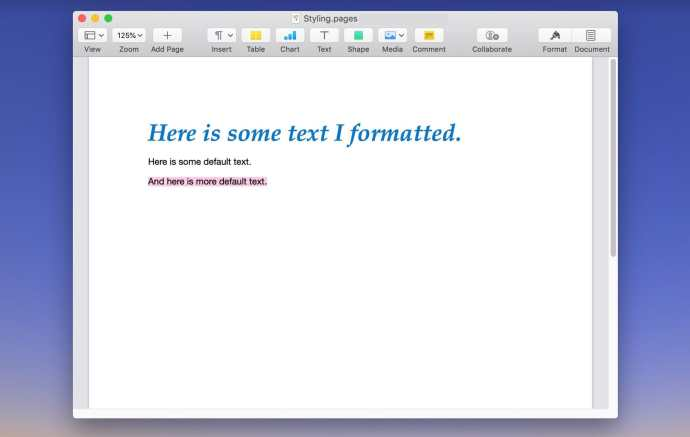 select text paste style pages mac