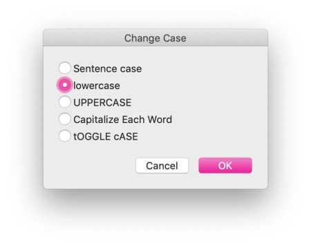 change case word mac