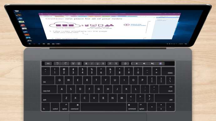 parallels touch bar onenote