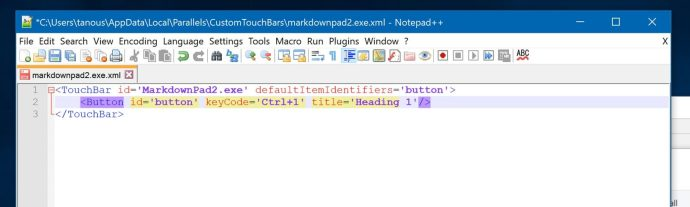 parallels customtouchbar xml