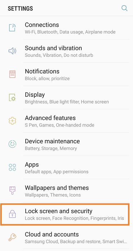 Galaxy Note 8 Change Lock Screen