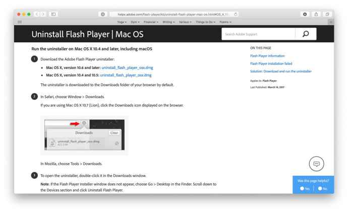 uninstall flash mac site