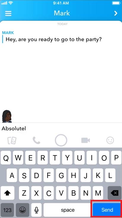 Текстовые сообщения в Snapchat