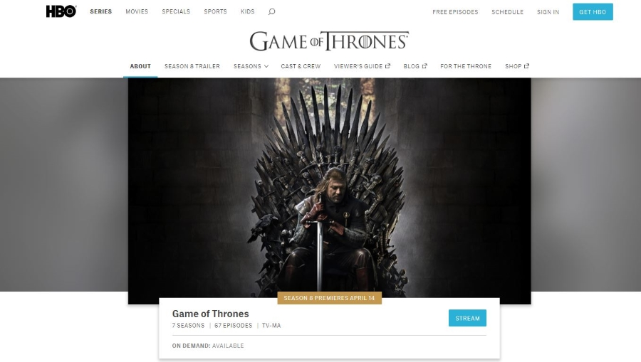 websites to watch game of thrones online free