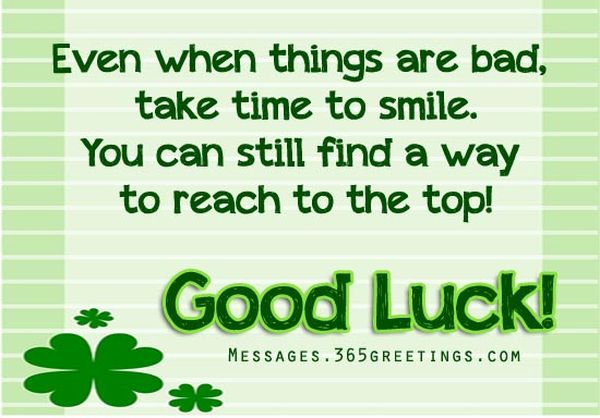 Good Luck Card with Positive Quotes