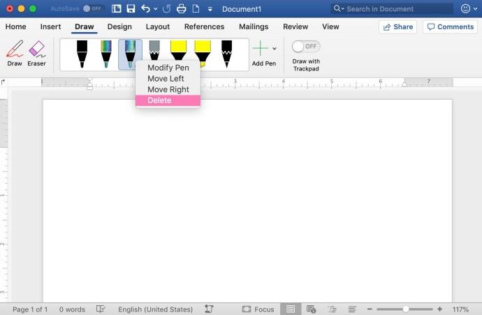 delete drawing pens word mac