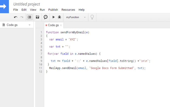 Google Form Data in an E-Mail script