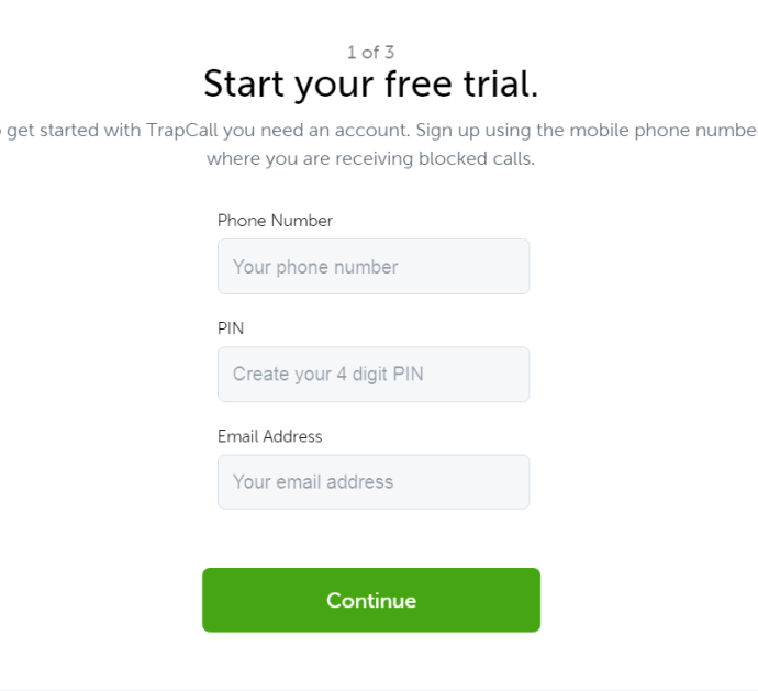 Sign in to TrapCall