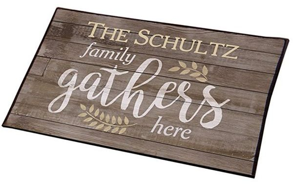 Water-Resistant Family Gathers Here Personalized Doormat