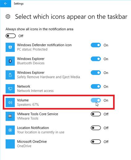 Windows 10 Volume Icon Missing in Taskbar