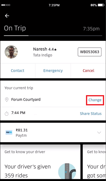 how to change uber location