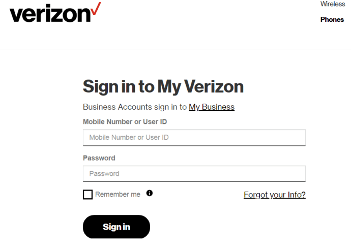 Sign in to Verizon