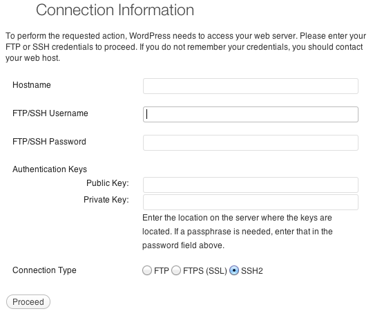 wordpress update without ftp access
