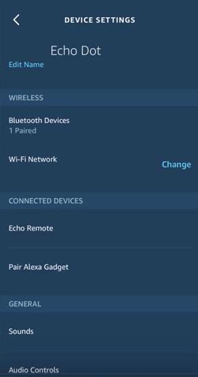 Alexa device settings