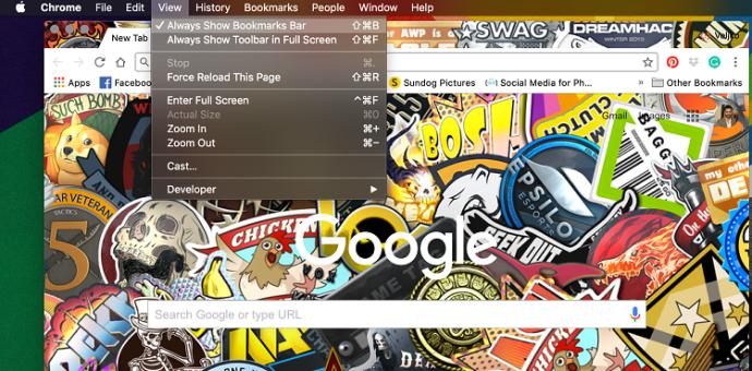 Google Chrome Favorite Bar
