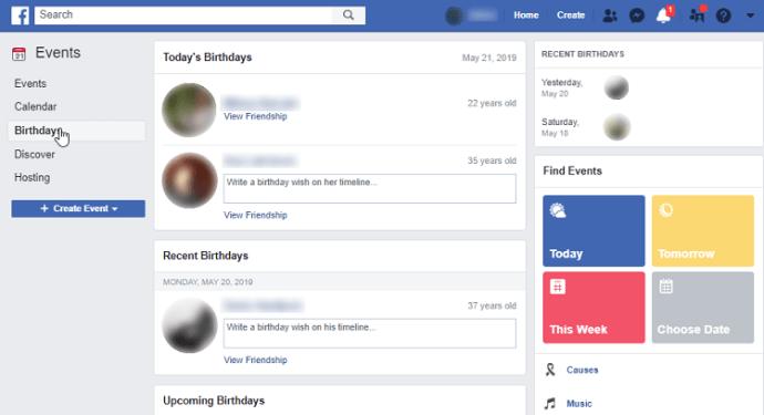 Как увидеть дни рождения друзей на Facebook