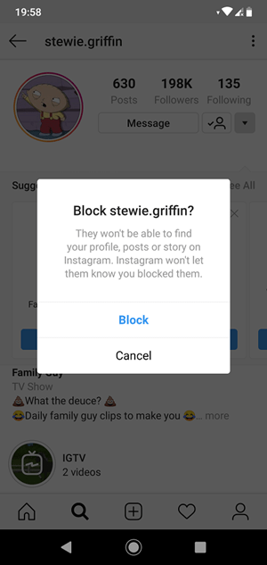 Instagram Block