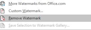 Word Insert Watermark